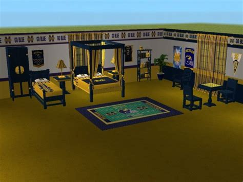 michigan bedroom mod the sims michigan wolverines bedroom for snickerwhack27