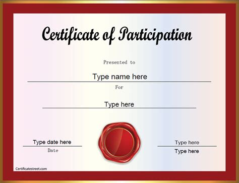 certificate participation template search results for certificate of participation templates