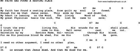 A Place Gospel Lyrics Gospel Song My Faith Has Found A Resting Place Trad Lyrics And Chords