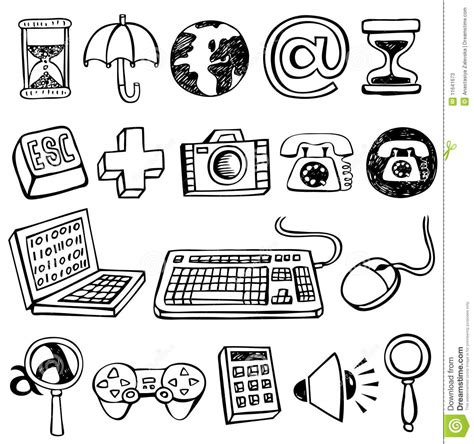 doodle pc computer doodles stock vector illustration of