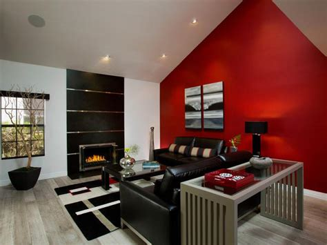 red accent wall living room modern living room with red accent wall hgtv