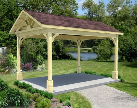Gable Roof Gazebo Treated Pine Gable Roof Open Rectangle Gazebos With 16