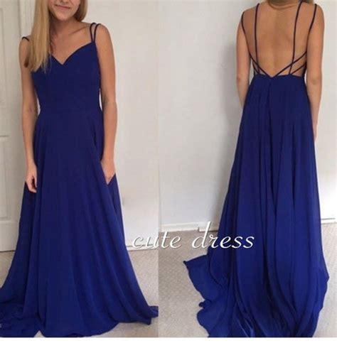 Simple Blue Dress simple backless chiffon prom dress blue formal dress