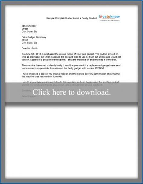 Complaint Letter Of Faulty Product Sle Complaint Letter About Faulty Product Sle