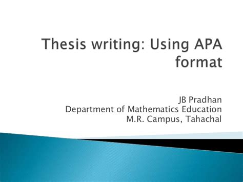 Thesis Writing Using Apa Format Apa Powerpoint Template