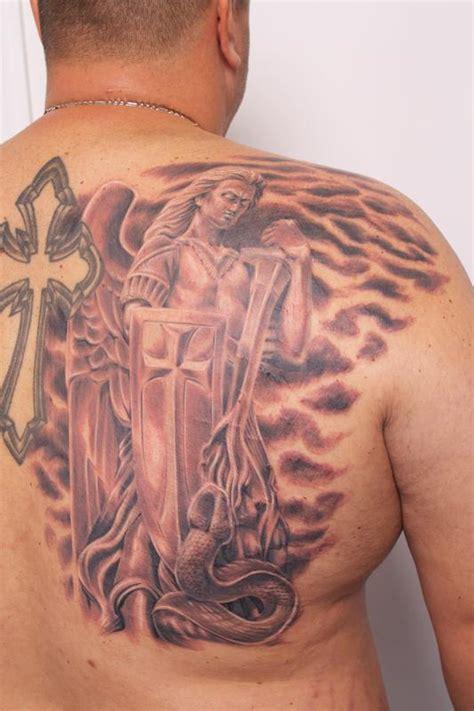 st michael chest tattoo biagio s gallery tattoos realistic guardian