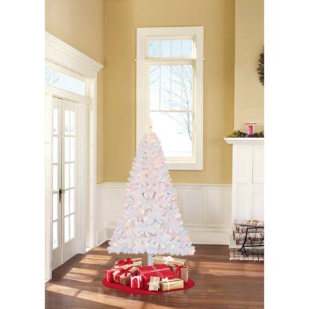 time pre lit 6 5 pine artificial tree white multi color lights