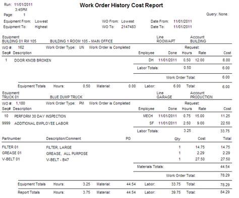 chronology report sle cogz ez cmms software work order enhancement module features