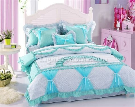 polka dot girls bedding girls lace bowtie polka dot ruffled duvet cover and sheet