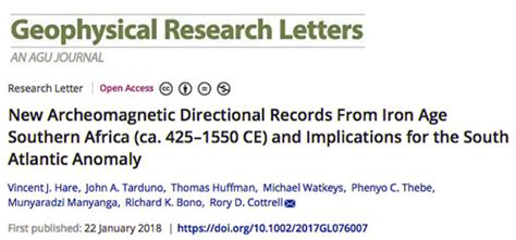 Geophysical Research Letter is low magnetic field in south africa linked to