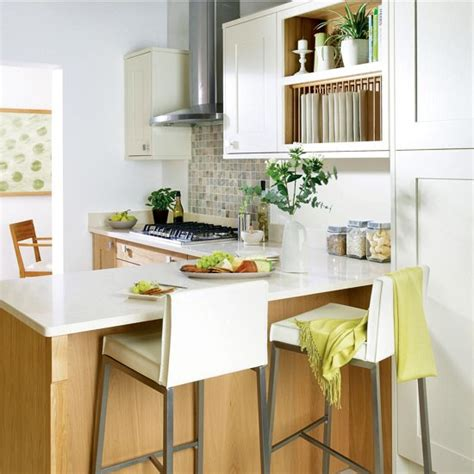 shaker style kitchen integrated breakfast bar small