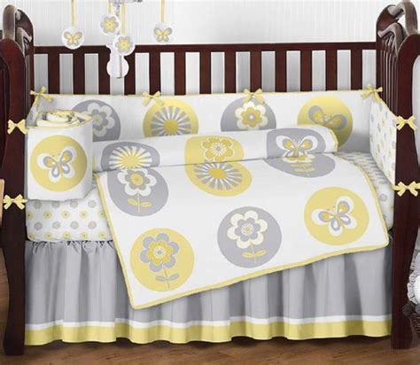 yellow grey and white bedding yellow gray and white mod garden baby girl flower and butterfly 9pc crib bedding set