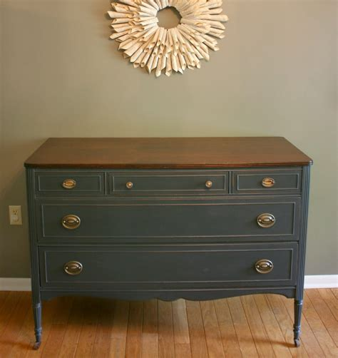 Grey Vintage Dresser by Roots And Wings Furniture No 78 Charcoal Gray