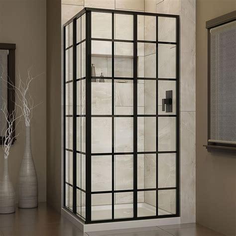 Framed Glass Shower Door Dreamline Corner 34 1 2 In X 34 1 2 In X 72 In Framed Corner Sliding Shower Enclosure
