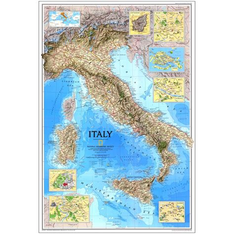 geographical map of italy 1995 historical italy map national geographic store