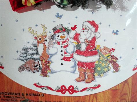 bucilla sted cross stitch christmas tree skirt kit 44