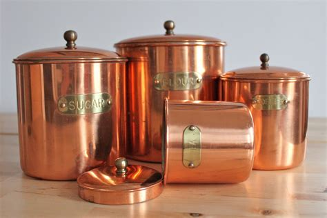 copper canister set kitchen vintage copper canisters shabby chic metal canister set with