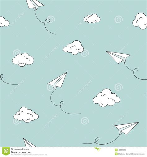 pattern paper airplane paper planes seamless background stock vector image