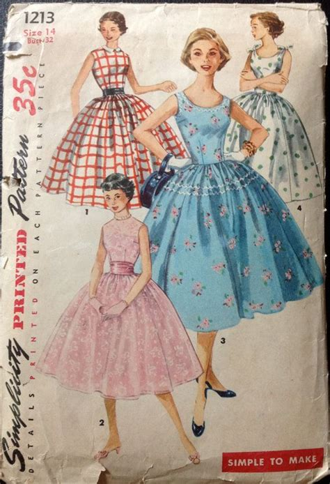 vintage patterns 1950s a 1849940940 simplicity 1213 1950s rockabilly dress pattern full skirt simple to make womens vintage sewing