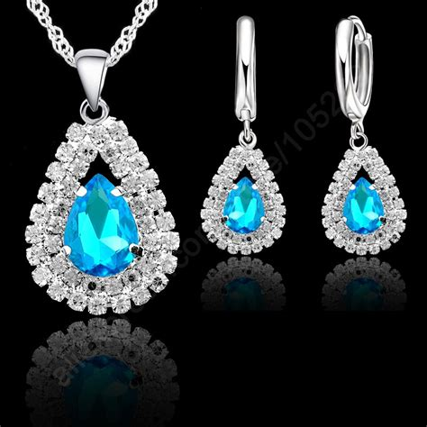 S925 Sterling Silver Hoop Necklace light blue s925 sterling silver jewelry sets 18 quot singapore