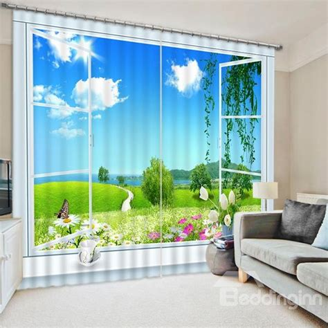 Scenery Window Curtains Beautiful Nature Scenery Out Of The Window Print 3d Blackout Curtain Beddinginn