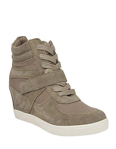 sneaker wedges steve madden steve madden olympiaa hightop sneaker wedges in brown