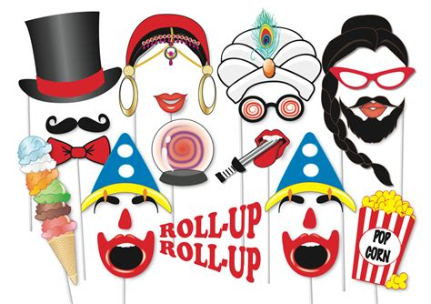free printable photo booth props circus circus sideshow photobooth party props set 40 piece