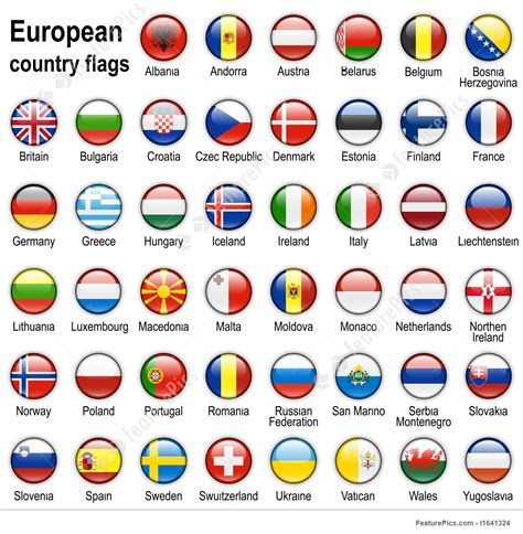 intern europe flag web buttons illustration