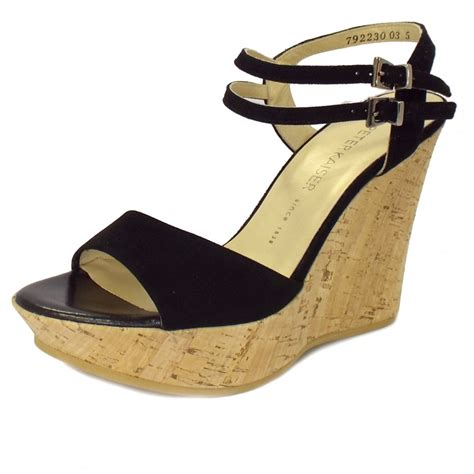 black wedge shoes kaiser ronko black suede wedge sandals mozimo