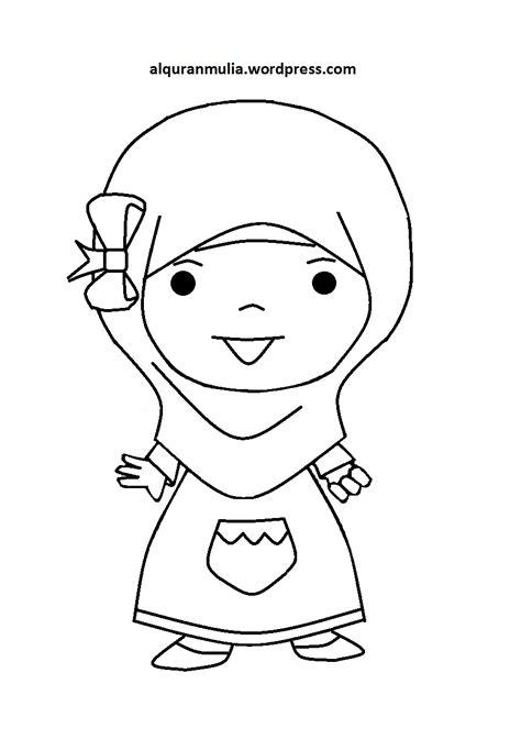 gambar kartun anak muslim gambar mewarnai kaligrafi sketch coloring page