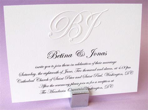 wedding invitation custom custom embossed monogram wedding invitation digby