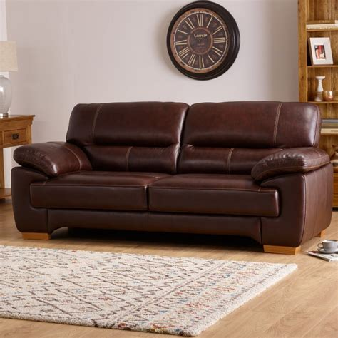 oak furniture land sofa clayton 3 seater sofa in brown leather oak furniture land