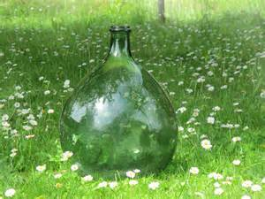 Hanging Curio Cabinet French Extra Large Green Glass Bottle Demijohn Garden Decor