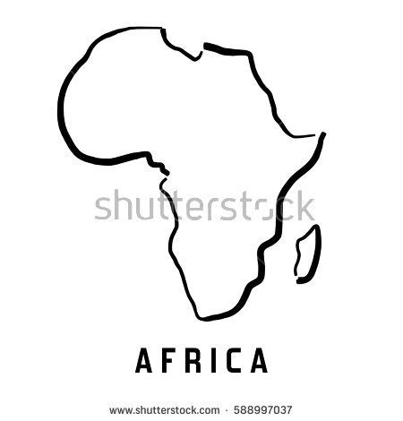 africa simple map outline smooth simplified stock vector