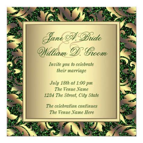 emerald wedding invitations emerald green and gold wedding invitation zazzle
