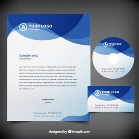 plantilla business letterhead with blue waves grey cd box with cd template psd file free