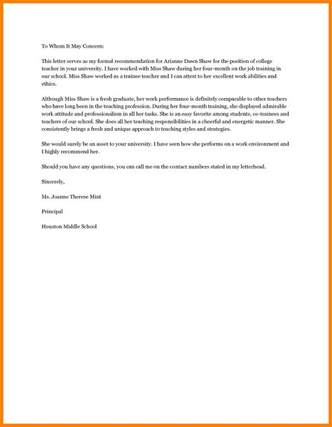 Reference Letter Format For Teachers 7 Recommendation Letter Template Sle Of Invoice