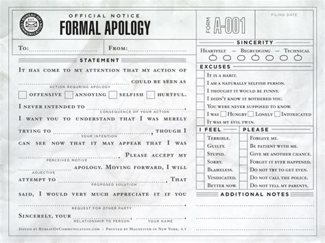 Sarcastic Apology Letter To The Bureau Of Communication Fill In The Blank Correspondence