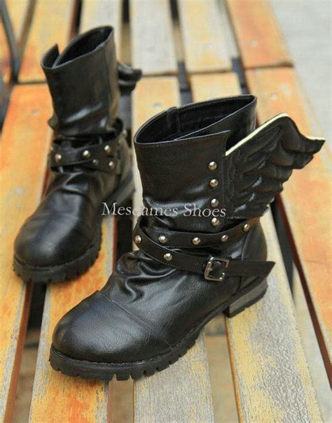 womens wing boots womens boots shoes black studded wing cuban
