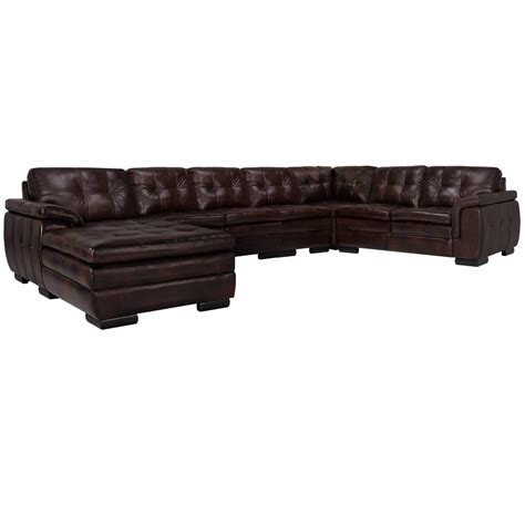 leather sectional left chaise city furniture trevor dark brown leather large left