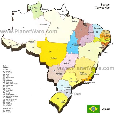 map of brazil cities map of brazil states major citites planetware
