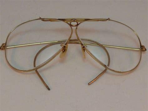 vintage ban aviator shooter glasses clear lenses gold