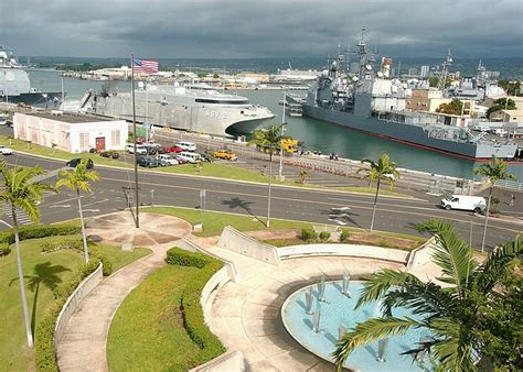 pearl harbor port pearl harbor hawaii sky clouds bay port harbor