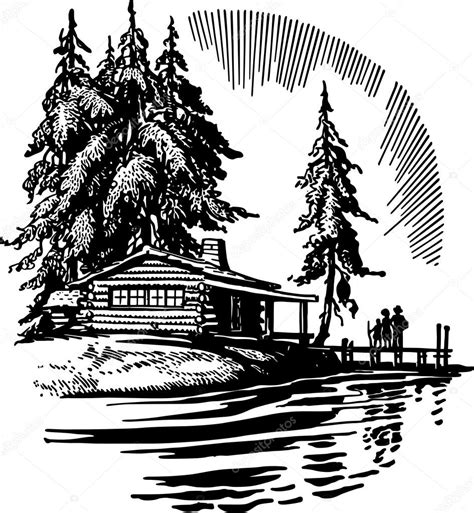 Cabin Style House Plans beautiful cabin by a lake stock vector 169 retroclipart