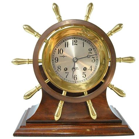 Clock L Stand chelsea ship s bell yacht wheel pilot model clock with