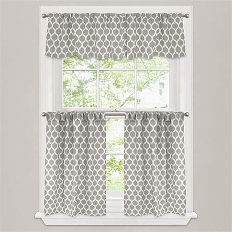 kitchen and bathroom window curtains morocco window curtain tier pair in stone bed bath beyond