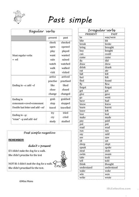 past simple regular and irregular verbs worksheet free