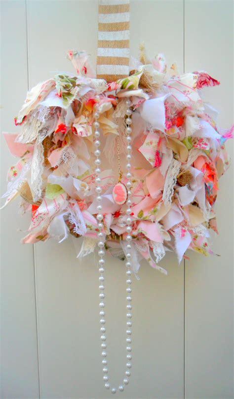 shabby chic wreath shabby chic wreath rag wreath fabric wreath pink decor