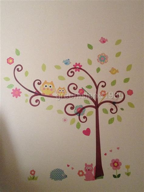 scroll tree wall stickers owl scroll tree hoot wall decal vinyl nursery stickers removable baby decor ebay