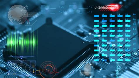 integrated circuit engineering corporation sram technology city skyscrapers flyover with futuristic interface and cybernetic map graphics stock footage